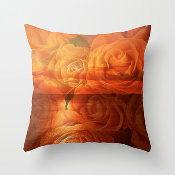 Roses and Sunset Throw Pillow by Erika Kaisersot