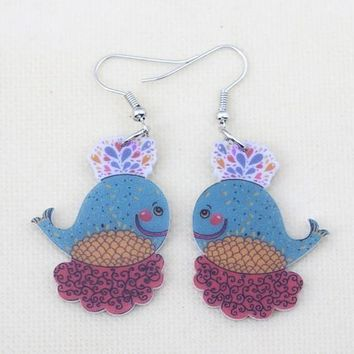 Bird cute lovely printing drop earrings acrylic new design spring/summer style for girls woman jewelry