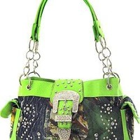 Western Cowgirl Camouflage Rhinestone Buckle Canvas Camo Satchel Purse (Green)