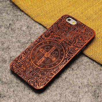 Wood Case Cover for Apple iPhone 5 5s Natural Bamboo Carving Design Wood With Durable Plastic Edges Cases for iPhone 5s SE