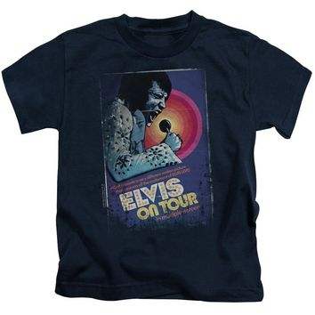 Elvis Presley Boys T-Shirt On Tour Poster Navy Tee