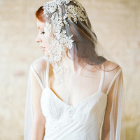 Wedding Veil, Lace applique Bridal Veil - Style 307