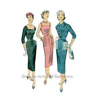 1950s Womens Sexy Day Afternoon SUN DRESS or Cocktail EVENING Sheath Dress Fitted Bolero Jacket Bust 32 Advance 8336 Vintage Sewing Patterns