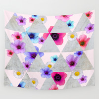 Playing with Flowers Wall Tapestry by Cafelab