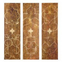 Uttermost Scrolled Panel Wall Art in Red - Set of 3 - 32132 - All Wall Art - Wall Art & Coverings - Decor