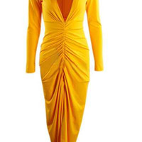 Yellow V-Neck Long Seeve Pleated Maxi Dress