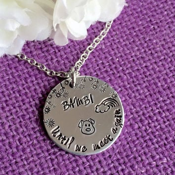 Pet Memorial Jewelry Necklace - Pet Remembrance Necklace - Dog - Cat - Sympathy gift - Pet Loss Gift - until we meet again - rainbow bridg