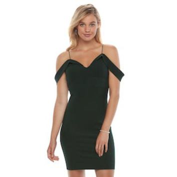 ESB7GX Juniors' Almost Famous Off-The-Shoulder Bodycon Dress | null