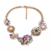 Mix Crystal Cluster Statement Necklace