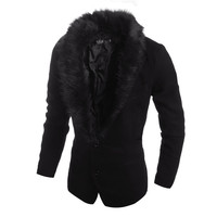 Fashion Men's Warm Jacket with Fur Collar