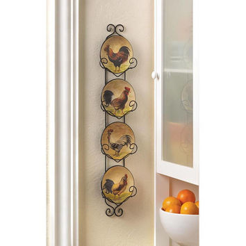 Country Kitchen Rooster Decorative Ceramic Plates and Iron Rack