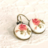 Romantic Leverback Earrings - Antique Tea Roses - Pink Beige Tan and Green Fabric Covered Buttons Earrings