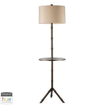 Stanton Floor Lamp in Dunbrook Finish with Glass Tray - with Philips Hue LED Bulb/Bridge