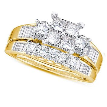 10kt Yellow Gold Women's Princess Diamond Bridal Wedding Engagement Ring Band Set 1-2 Cttw - FREE Shipping (US/CAN) - Size 7