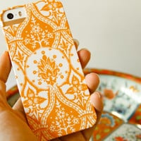 iPhone5 Case, Orange Damask iPhone 4 Case, Cell Phone Cover, iPhone 5S, iPhone 5C Case