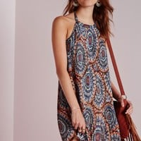 Missguided - High Neck Pleated Swing Dress Multi Aztec Print
