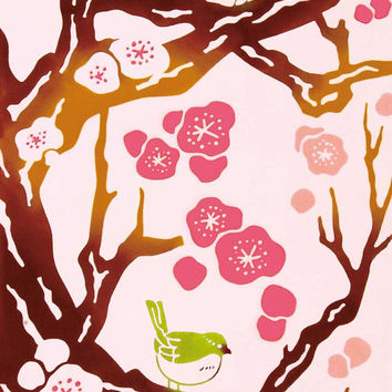 Japanese Tenugui Towel Fabric - Kawaii Ume, Tree, Bird Art Design - Cotton 100%, Wall Art Hanging, Gift Wrapping, Headband, Skirf  - t001