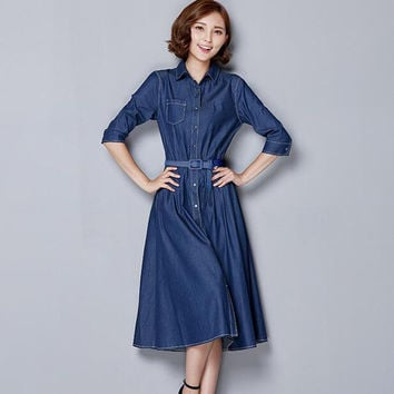 Summer Dress Denim Dress Maxi Casual  Dresses Women Jeans  Long Vintage Long Sleeve Dresses NL0172