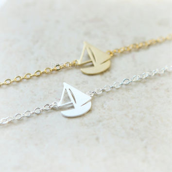 Sail Boat bracelet / choose your color- gold and silver