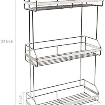 Stainless Steel Space Saver 3-Tier Bathroom Toiletries, Towel Shelves / Kitchen Spice Rack Organizer