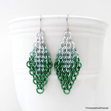 Green ombre chainmaille earrings, Euro 4 in 1 weave