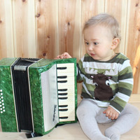 Soviet Vintage Accordion for Kids Bellows Real Musical Instrument for Learning Good Condition Little Musician Russian Accordion