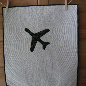 airplane wall hanging, quilted wall hanging, black and white