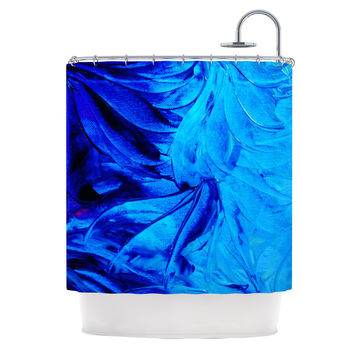"Ebi Emporium ""Petal Pinwheels"" Blue Aqua Shower Curtain"