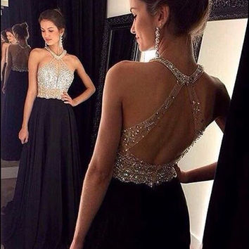 Halter Chiffon Prom Dresses, Black Prom Dresses 2016, Halter Evening Dresses Party Dresses