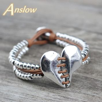 Anslow Top Quality Vintage Heart Beads Bracelet For Women