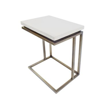 Modrest Lansing Modern White Concrete & Antique Brass End Table