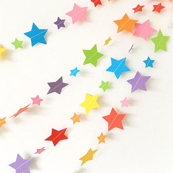 Paper Garland - Rainbow Stars - 25ft Length