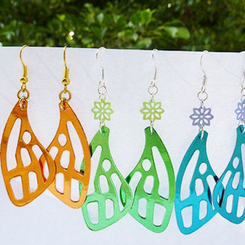 Handmade Butterfly wing earrings made from Metallic Aluminum Card stock. (Choose your color: fuchsia, green, gold or turquoise)