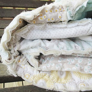 Picnic Quilt Throw, Rag, Snow Willow, ALL NATURAL, fresh modern handmade