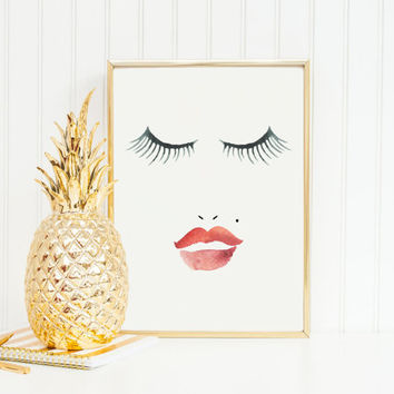 MAKEUP PRINT,Bathroom Decor,Lips,Eyelashes Print,Beauty Print,Chic,Fashion Print,Makeup Art,Girl Room Decor,Bathroom Wall Art,Digital Print