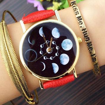Red Faux Leather Moon Phase Watch
