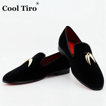 COOL TIRO Black Velvet Slippers With Gold Shark Tooth Tassel Loa 795549428599