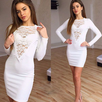 Sheer Mesh Lace Long Sleeves Bodycon Mini Dress
