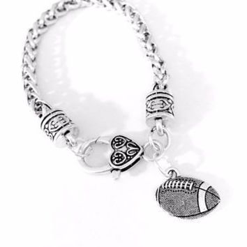 Football Sports Mom Daughter Mother's Day Gift Charm Bracelet