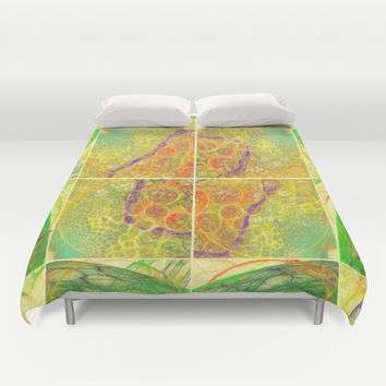 Surreal squares and bubbles mesh abstraction Duvet Cover by Natalia Bykova