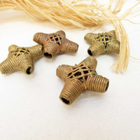 Vintage African Brass Beads 4 Metal Tribal Beads African Lost Wax Method Bead Necklace Bracelet Jewelry Supply Ghana