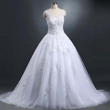 Actual Image Lace Wedding Dresses 2017  Vintage Ivory Appliques Beaded See Though Tulle Puffy Princes Bridal Ball Gowns