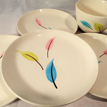 Vintage Stetson Dinnerware, Random Hand painted pastel leaves, Mid century simple clean lines, 5 pieces  flat cup and bread plates,