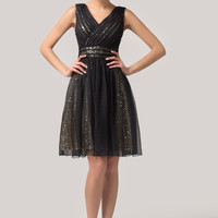 Black  V-Neck Sequined Sleeveless Chiffon Mini Cocktail Dress
