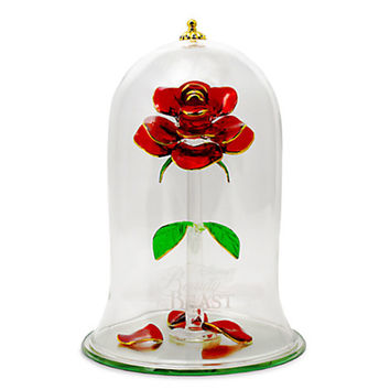 Disney Beauty and the Beast Enchanted Rose Glass Sculpture Arribas Extra Large