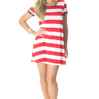 Party in the U.S.A.- Red Striped Dress