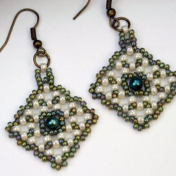 Seed bead handmade dangle earrings, green and white Right angle weave OOAK