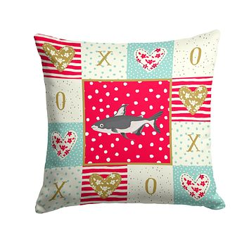 Iridescent Shark Love Fabric Decorative Pillow CK5482PW1414