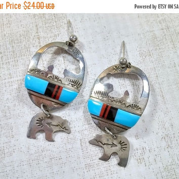 Vintage Sterling Silver Southwest Style Earrings Dangles Bears Bear Cutout cut out Turquoise Fun Southwestern Native American Style Jewelry