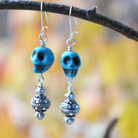 Silver and Blue Skull Earrings